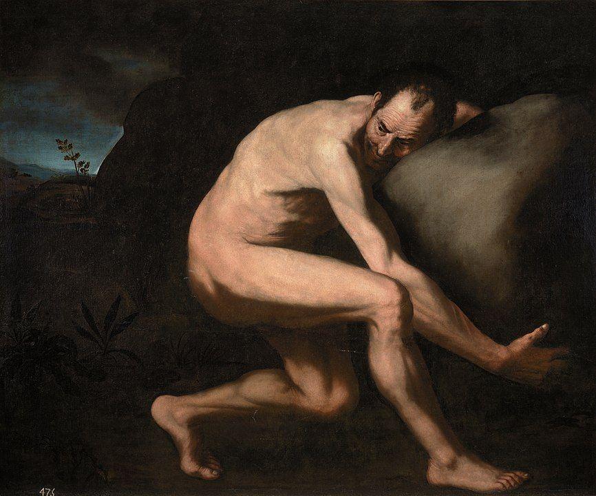 Sísifo copia de la pintura de Jose Ribera.