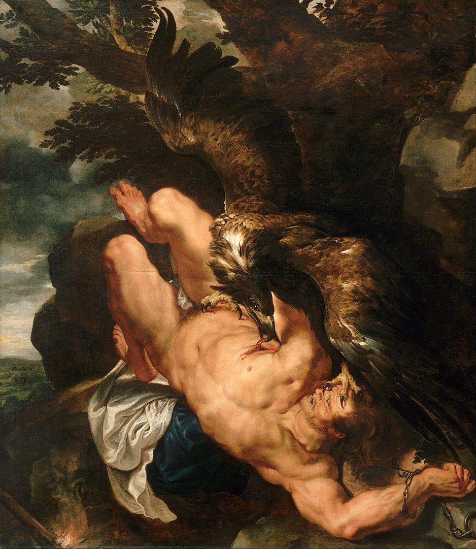 Prometeo fue condenado a ser atacado por un águia que devoraba su higado cada día, un organo en el que losgriegos creían residia el alma. Pintura de Peter Paul Rubens.