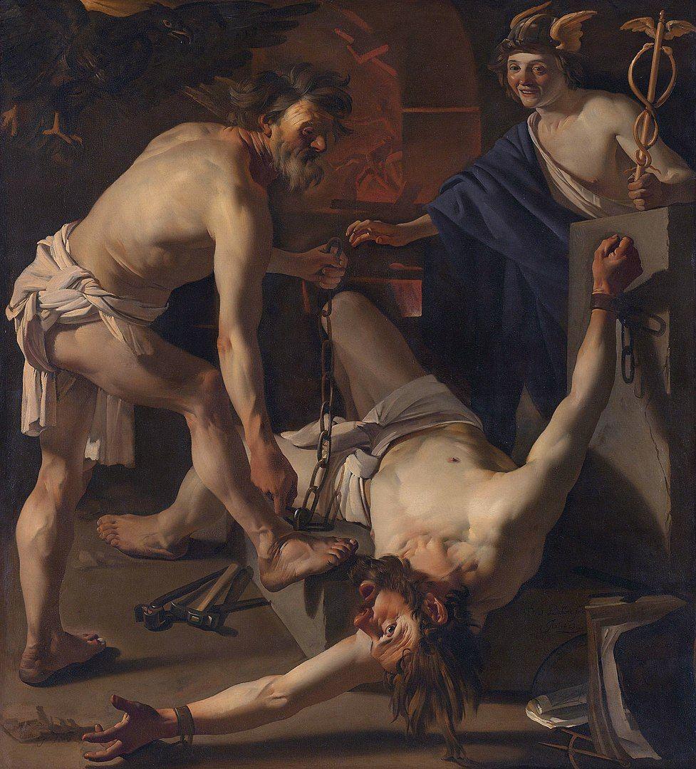 Prometeo siendo encadenado por Vulcano para cumplir con su condena, pintura de Dirck Barburen.