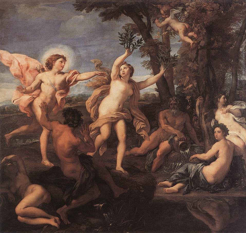 Apolo persigue a Dafne a través del bosque, mientras ella es transformada en un árbol de Laurel, desde entonces el dios de la música y la medicina lleva una corona de Laurel.
