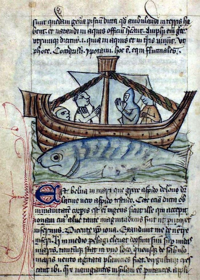 Imagen de una critura marina mosntruosa en este caso un pez, descrita en uno de los bestiarios medievales.