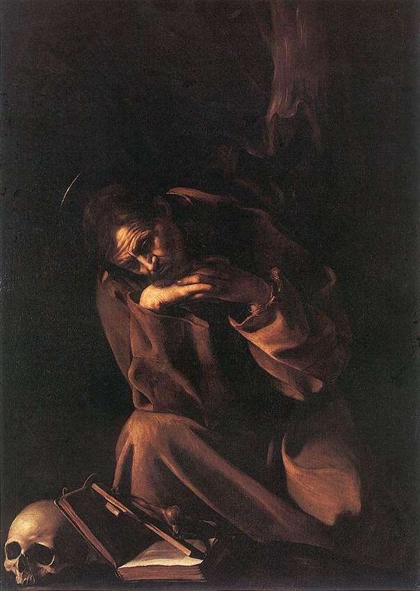 Sna Francisco en oración una de las formas de representar a la muerte en la pintura religiosa, el memento mori.