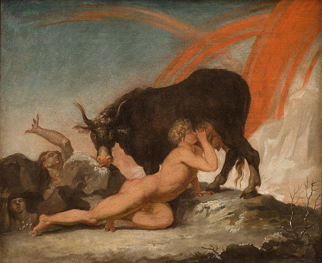 Ymir desnudo bebiendo leche de las ubres de Audhumbla, mientras está lame un bloque de sal, del que aparece parcialmente Buri, el ancestro de todos los dioses. En el fondo se evidencian las llamas de Muspelheim. Pintura de Nicolai Abildgaard.