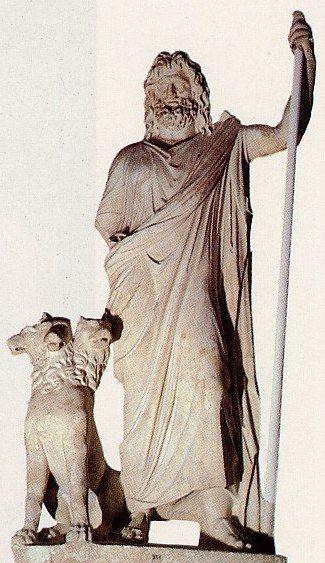 Hades el dios del inframundo griego acompañado de Cerbero.