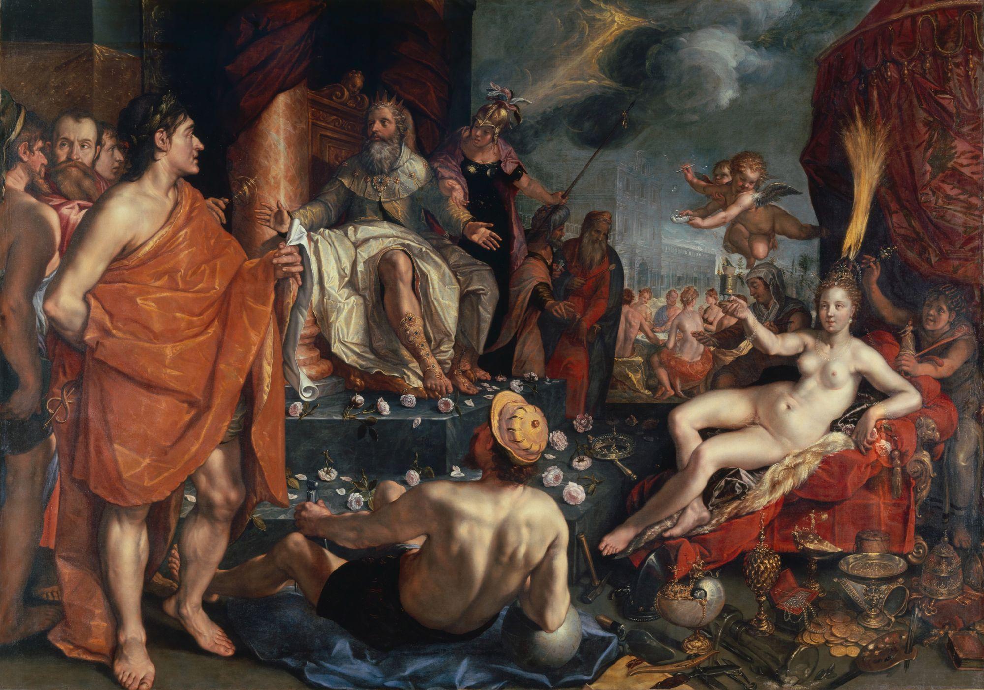 Hermes presenta a Pandora ante Epimeteo, quien prendado de la belleza de la mujer se caso con ella, a pesar de los anuncios realizados por Prometeo. Pintura de Hendrick Goltzius.