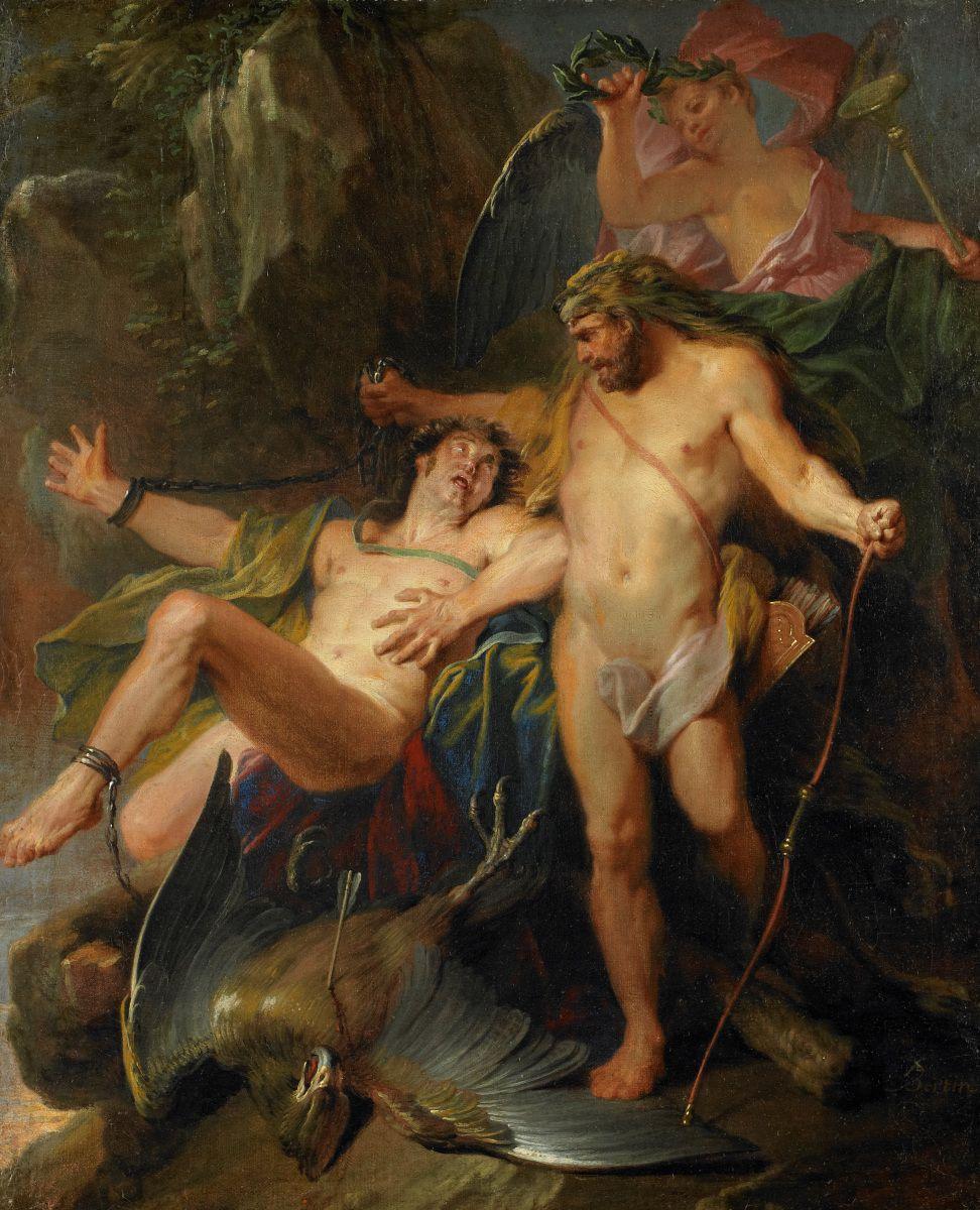 Heracles libera a Prometeo de su castigo. Pintura de Paul Bertin.
