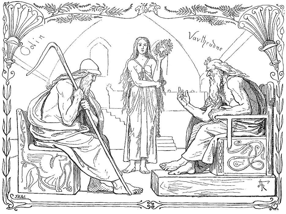 Odín y Vafthrudner durante su batalla de ingenio pintura de Lorenz Frølich.