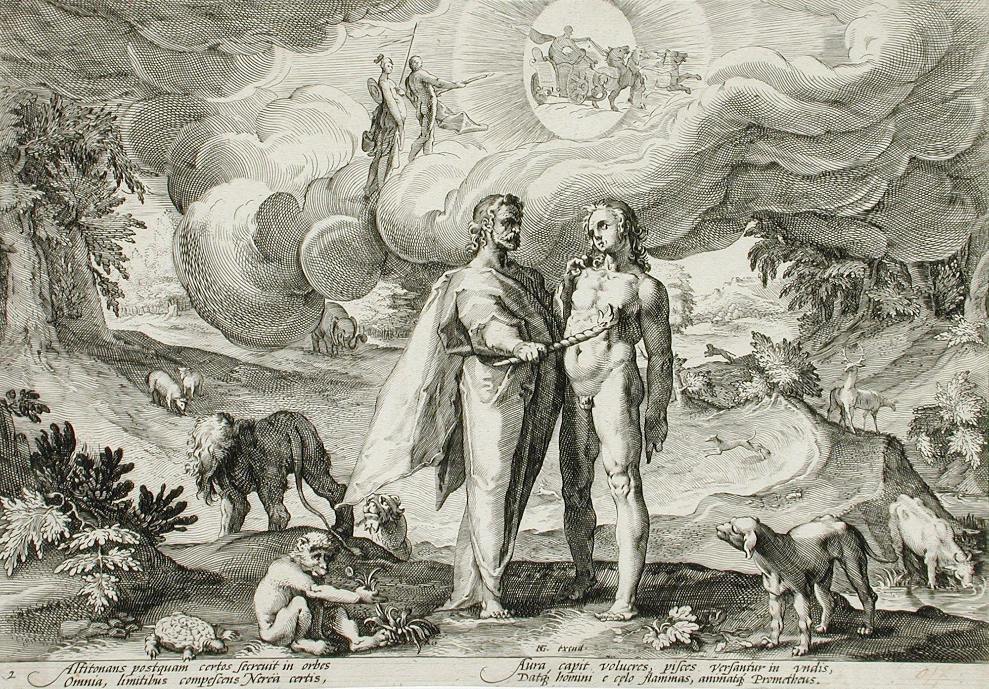 Prometeo crea a los seres humanos en una imagen de Hendrik Goltzius que ilustra una de las versiones de Las Metamorfosis de Ovidio.