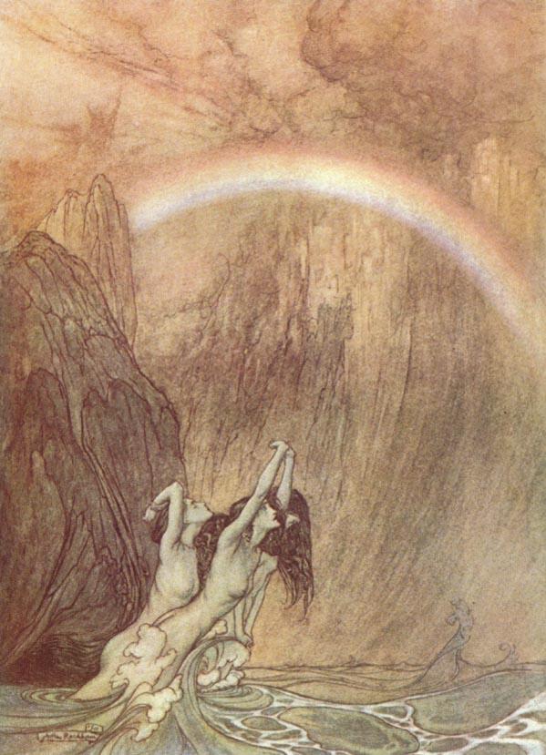 El Bifröst representado en una pintura de Arthur Rackham.
