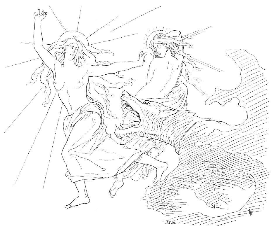 Fenrir el lobo atacando a Sól y su hija. Ilustración realizada por Lorenz Frølich en 1895.