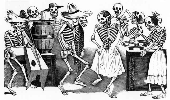 En Mesoamerica exisitían varias fiestas que veneraban a los muertos, la fiestas del miccailhuitontli y el uey mica ilhuitl, estaban destinadas a venerar a los niños y a los adultos muertos respectivamente.