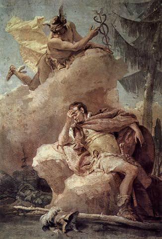 Mercurio visita a Eneas y le recuerda que debe seguir su viaje y cumplir con su destio. Pintura de Giovanni Battista
