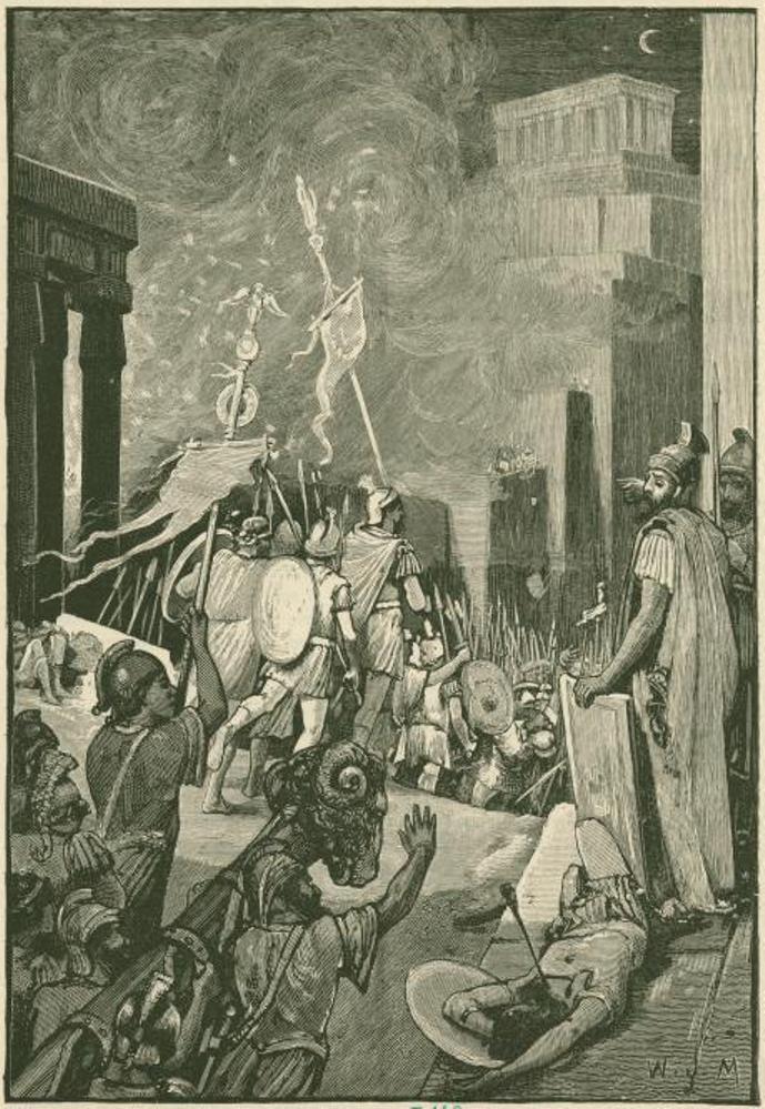 Representación del asalto final a Cartago por parte de las fuerzas romanas.