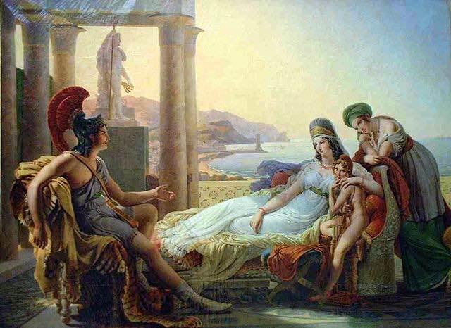 Al parecer la probabilidad de que Dido y Eneas se conocieran en el caso de que ambos fueran reales es escasa. Dido y Eneas de Pierre-Narcise Guérin.