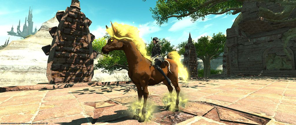 Goldfax cuyo nombre puede sr interpretado como crines doradas es el caballo del gigante Hrungner, este caballo esta presente en el juego Final Fantasy XIV como podemos ver la imagen captura de este juego.