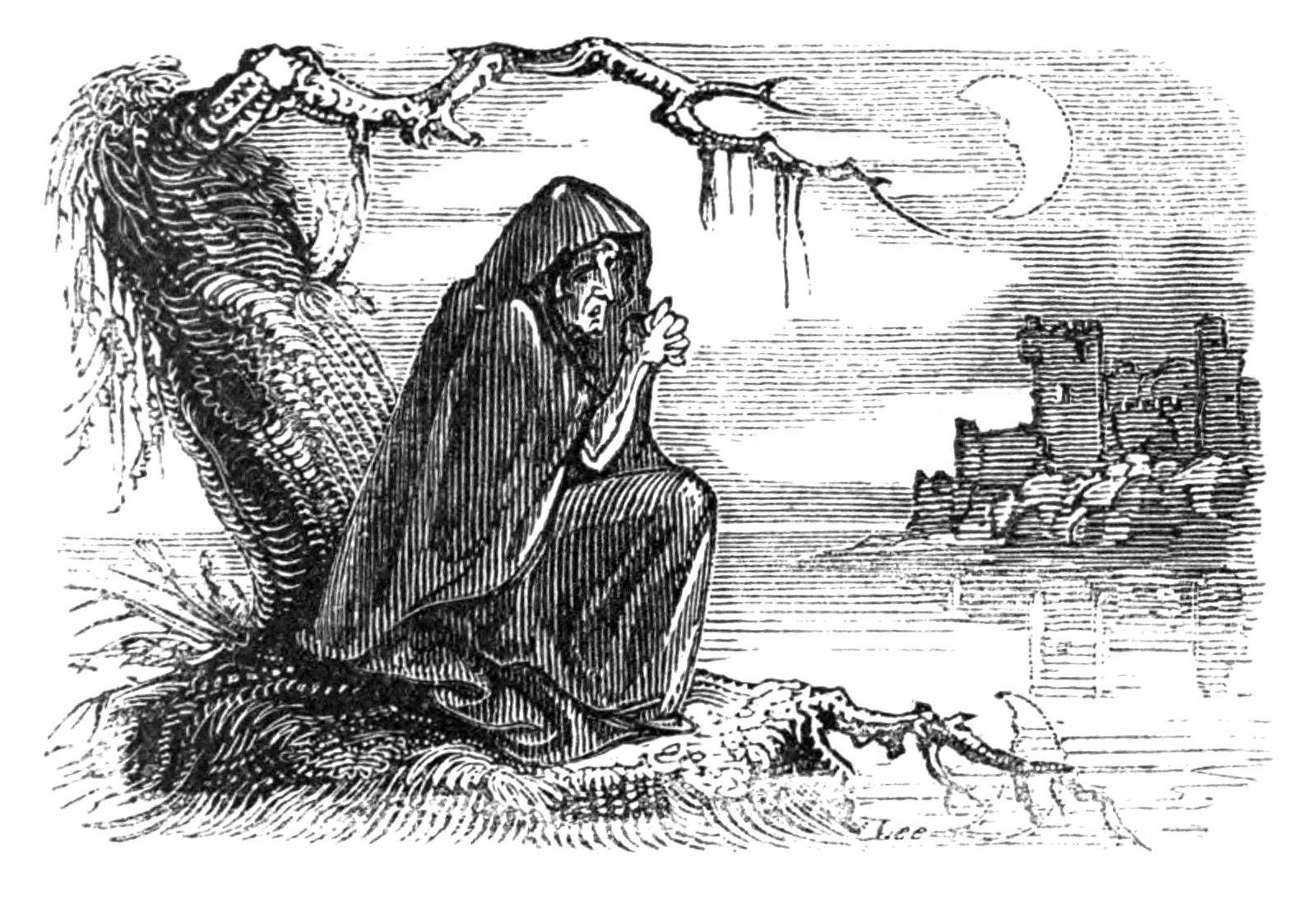 Imagen a tinta que representa a una banshee publicada en libro Fairy Legends and Traditions of the South of Ireland de Thomas Crofton Croker