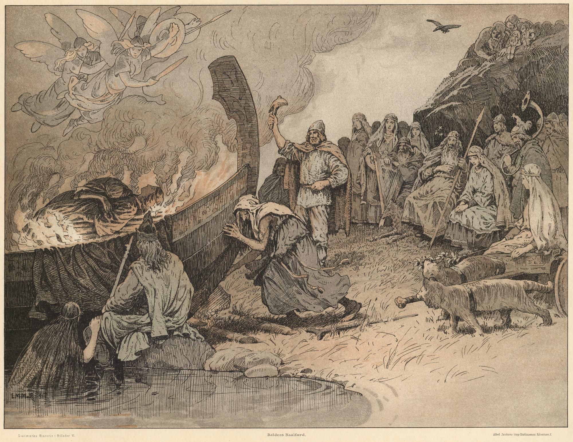 La giganta Hirokken ayuda a los Aegir a empujar la barca ardiente con el cuerpo de Balder.
