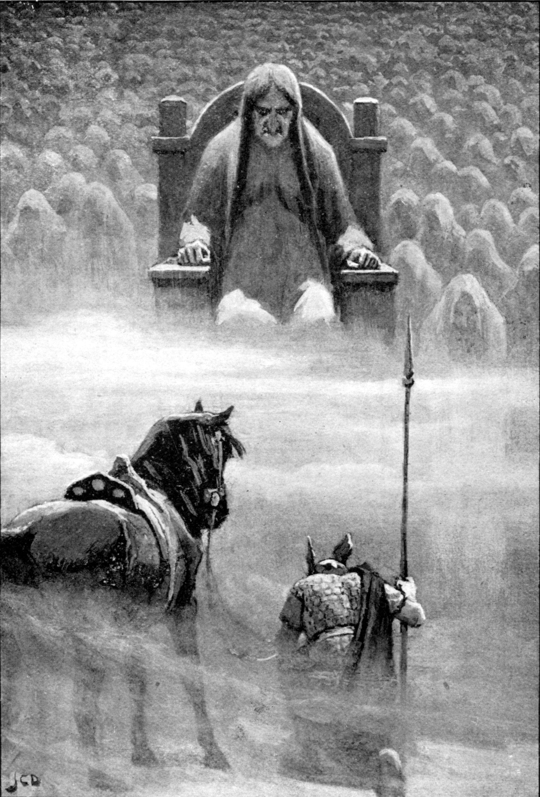 Hermod ante Hel ilustración del libro Myths of the Norsemen from the Eddas and Sagas de HA Guerber 1909.