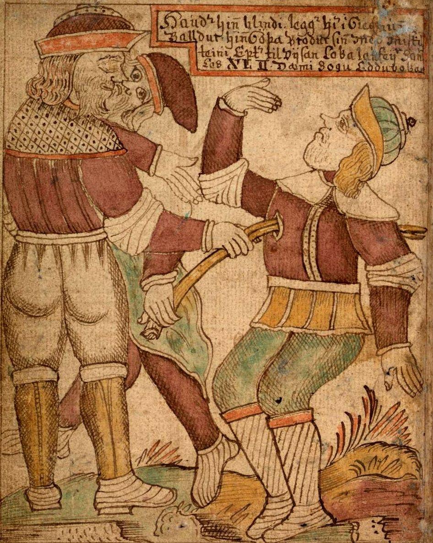 Loki guía la mano de Höder con una flecha de muérdago hasta el corazón de Balder. Ilustración un antiguo manuscrito islandes.