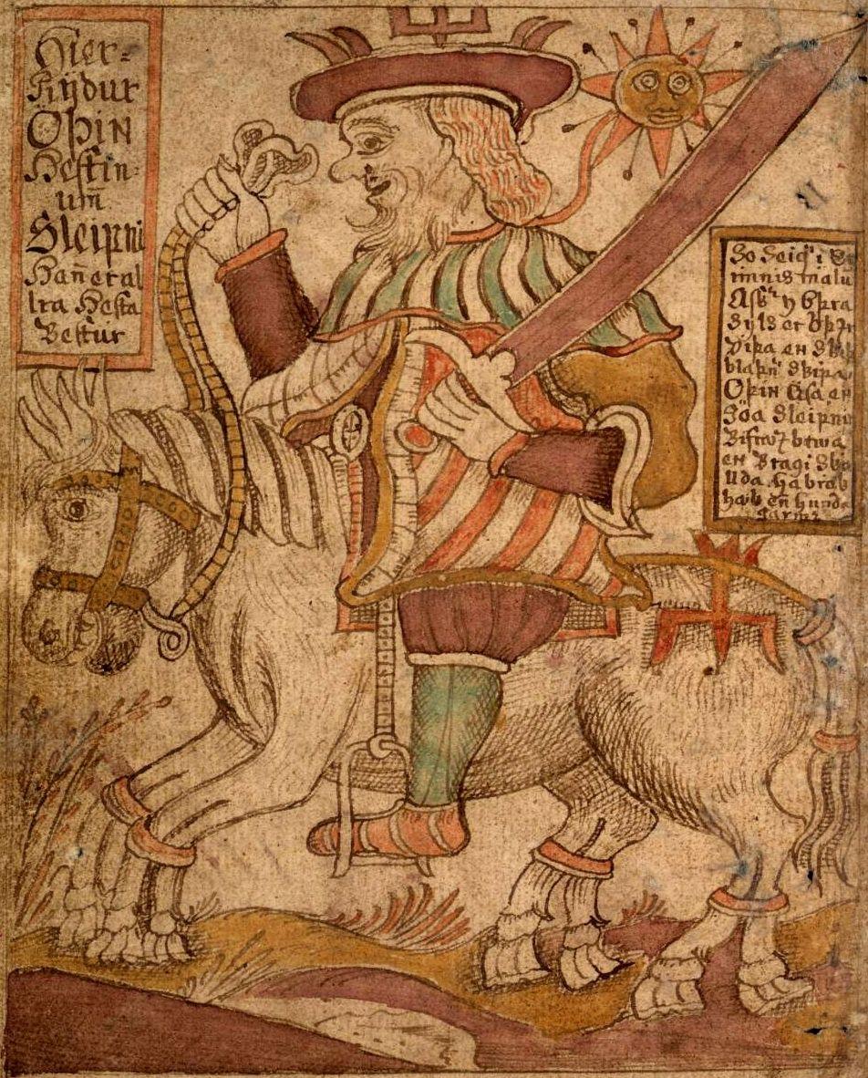 Odin montando a Sleipnir, lo interesante de este caballo es que nació como hijo de Loki, que tuvo que entretener a Svaldifari, el caballo que ayudaba a un gigante a construir la muralla de Asgard.
