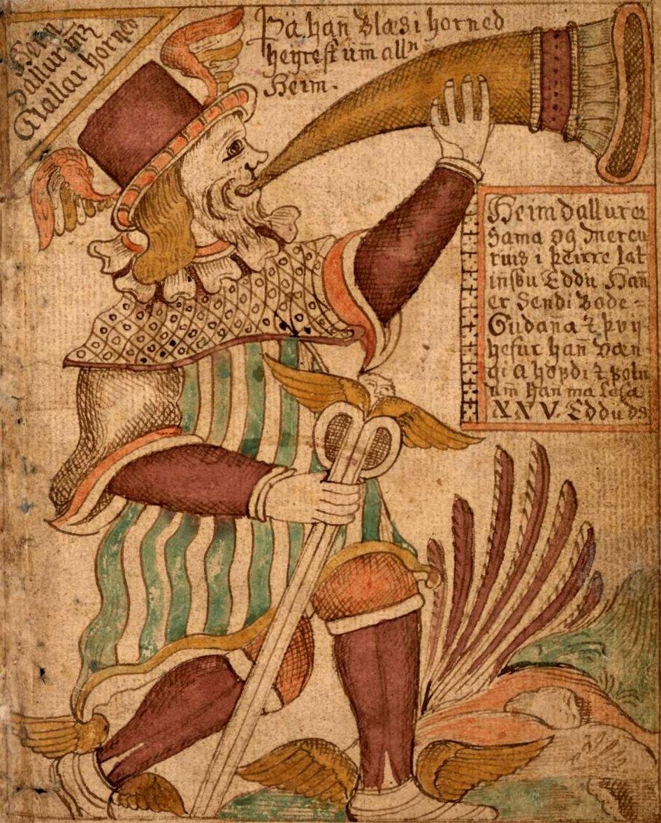 Heimdall en guardian del puente Fribost representado en una imagen de un manuscrito irlandes.