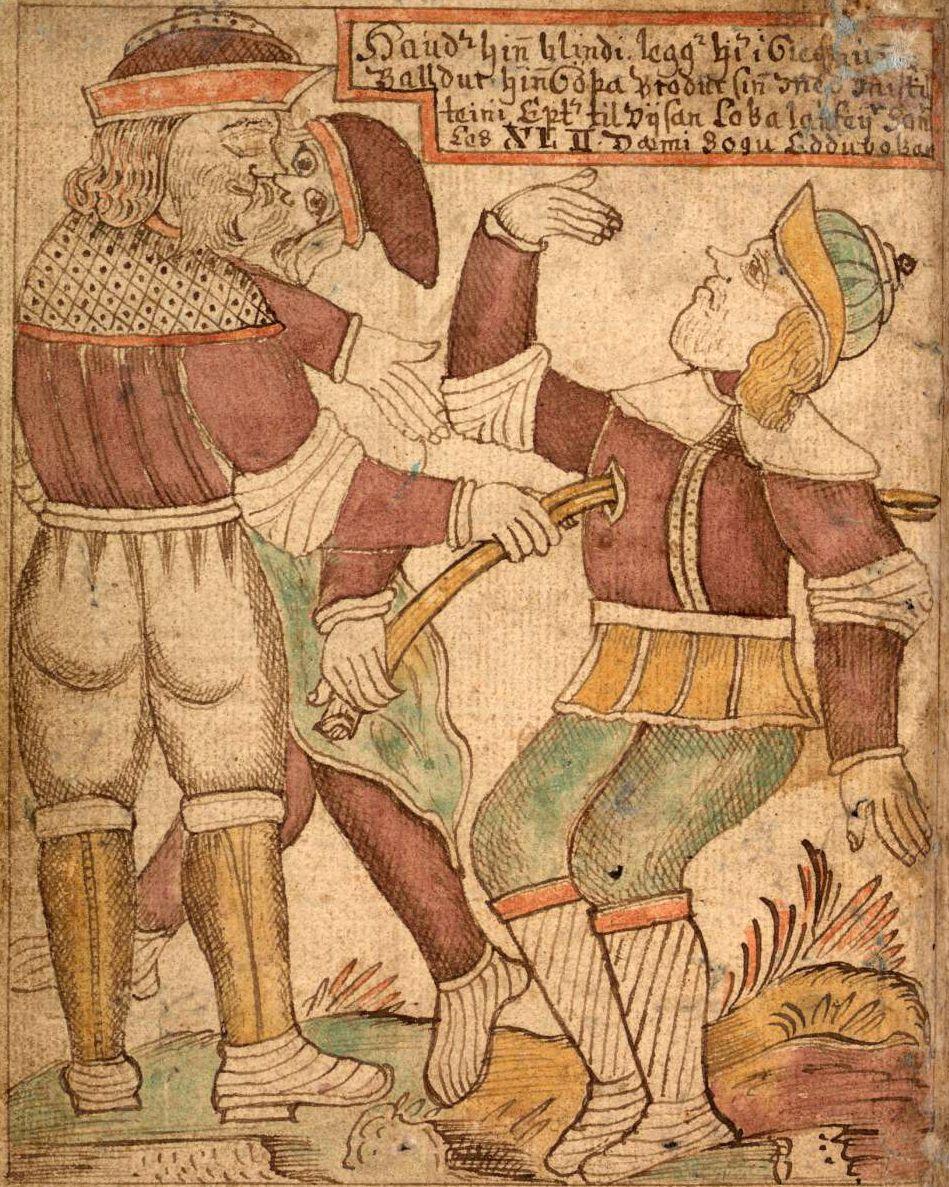 La muerte de Balder representada en un manuscrito irlandes del siglo XVIII