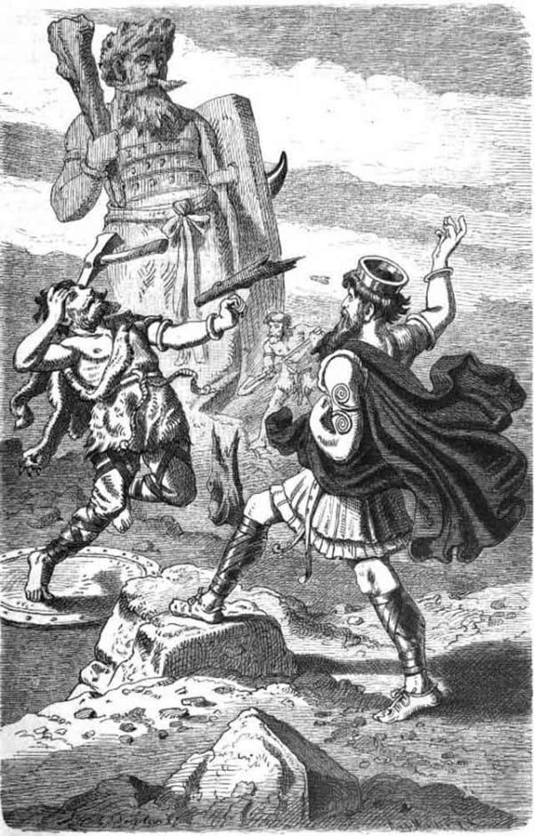 La pelea entre Thor y Hrungner, que el dios del trueno terminaría ganando, a costa de sufrir un golpe bastate doloroso en su cabeza.