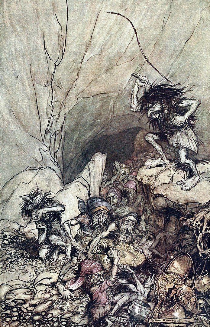 Andvari llamado Alberich en la versiónde Wagner, era un hábil enano, jefe de un grupo de ladrones, que mantenia inimaginables tesoros. Pintura de Arthut Rackman.