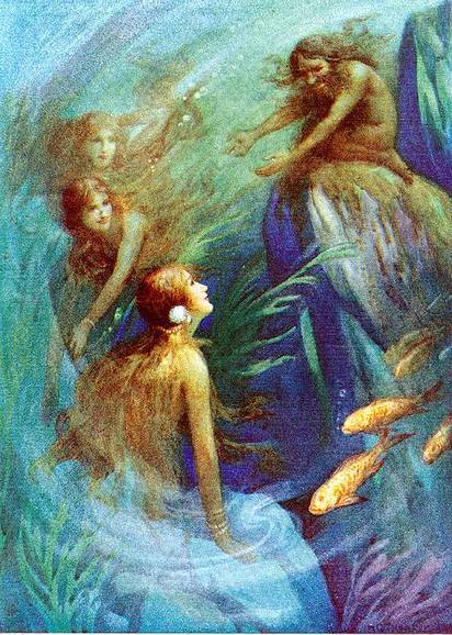 Loki en su intención de atrapar al enano Andvari, acudió a hablar con las hijas de Ran, para poder tener acceso a la red de la reina de los mares.
