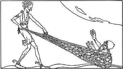 Loki atrapa a Andvari en la red que había conseguido de la reina Ran.