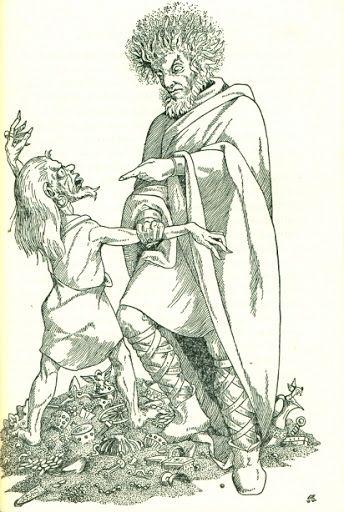 Cuando Andvari escapaba tras entregar su tesoro, Loki vio el anillo que el enano llevaba en su mano, asi que lo detuvo y le robo su anillo.
