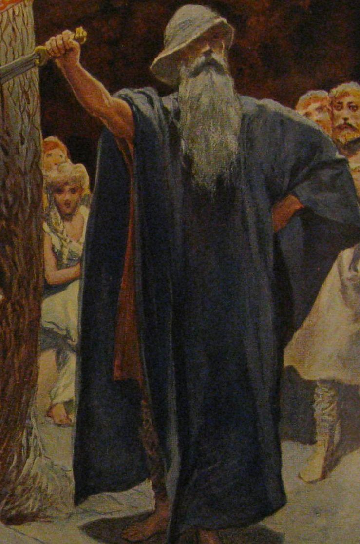 Odín se presenta en la fiesta de los Volsungos y clava una espada en el Branstock. La espada genera una disputa entre el rey Siggeir y los Volsungos. Pintura de Emil Doepler.
