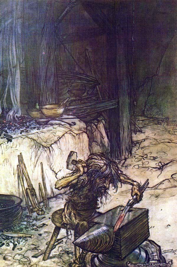 Regin en su forja, en una pintura de Artur Rackham.